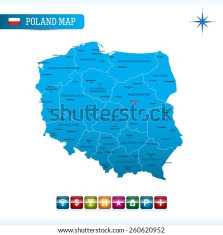 Poland Map with navigation icons