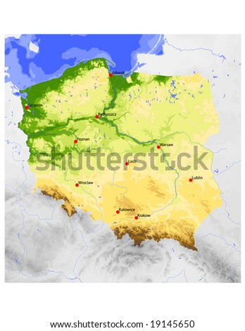 Poland. Physical vector map, colored according to elevation, with ocean depths and selected cities. Surrounding territory greyed out. 49 layers, fully editable. Data source: NASA - stock vector