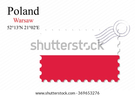 poland stamp design over stripy background, abstract vector art illustration, image contains transparency