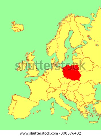 Poland vector map, Europe, vector map silhouette illustration isolated on Europe map. Editable blank vector map of Europe.  - stock vector