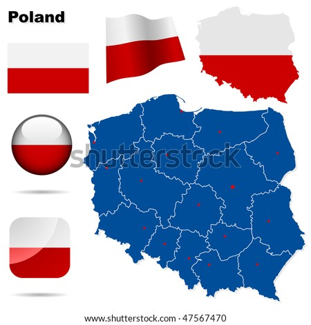 Poland  vector set. Detailed country shape with region borders, flags and icons isolated on white background. - stock vector