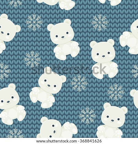 Polar bear and snowflakes over blue knitted background. Seamless pattern - stock vector