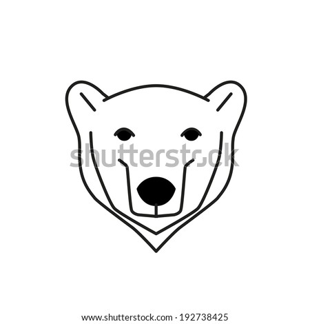 Polar Bear Black Line Vector Illustration Stock Vector ...