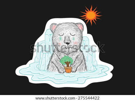 polar bear cry .please save the trees ,save the world,and save me - stock vector