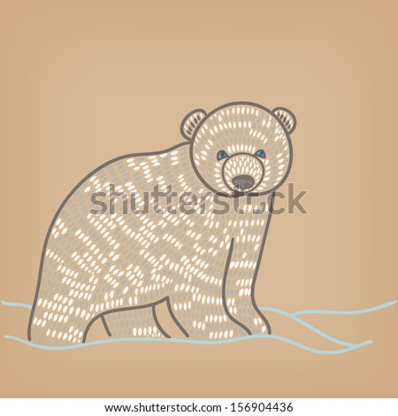 polar bear cub in snow - stock vector