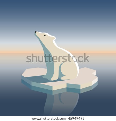 Polar bear on an ice floe. Possible result of global warming.  Vector illustration. All objects are grouped and easy to edit or separate.