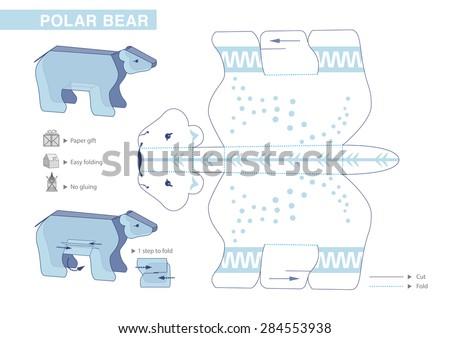 Polar Bear Paper Model Cutouts Children Stock Vector 284553938