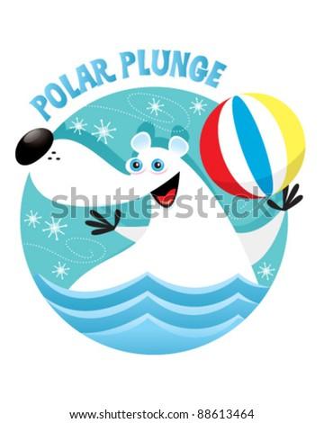 Polar Bear Plunge - stock vector