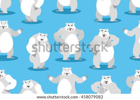 Polar Bear seamless pattern. Set a wild animal. Wild beast with white fur. Big powerful predator of arctic background. Texture of fabric for baby - stock vector