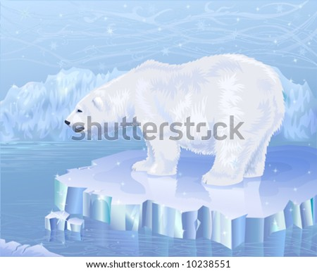 Polar bear standing on an ice floe - stock vector