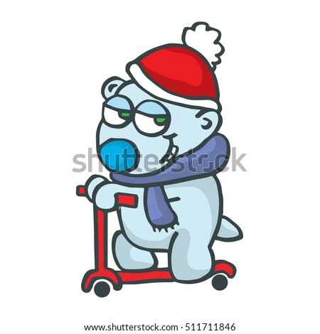 Polar bear with scooter cartoon design collection stock