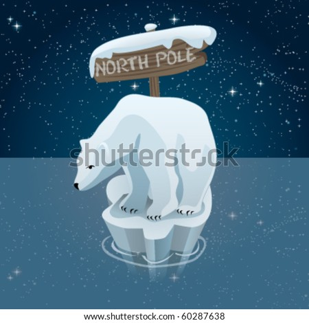 Polar bears in north pole - stock vector