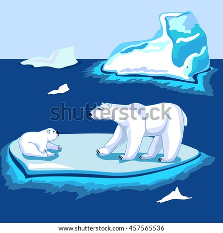 Polar bears on the ice near the iceberg. Adult and baby animal - stock vector