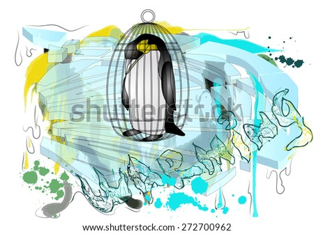 polar ice and penguin. concept of global warming. - stock vector