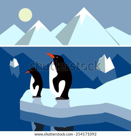 Polar landscape panorama - stock vector
