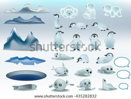 Polar landscapes and animal isolates vector. - stock vector