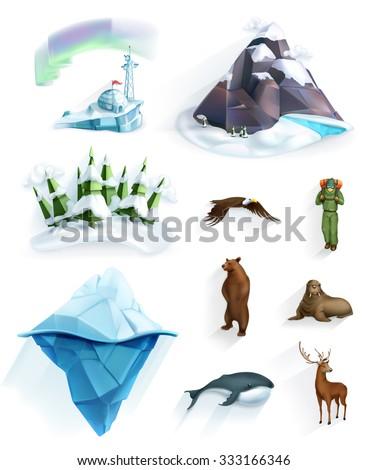 Polar nature, winter wonderland, low poly style icon set - stock vector