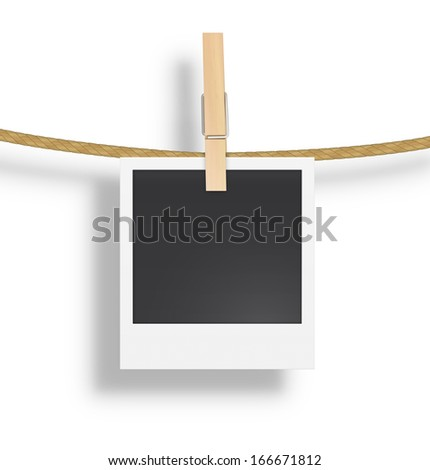 Polaroid photo frame with clothespin isolated on white background. Vector illustration. Realistic. Drying photo. - stock vector