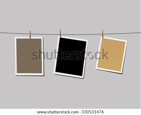 Polaroid photos on line  - stock vector