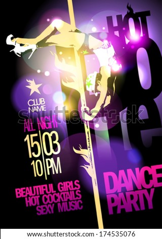 Pole dance party design with slim fashion girl. Eps10 - stock vector