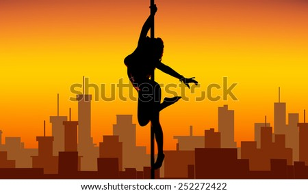 Pole dance women silhouette on city background. EPS 10 format. - stock vector