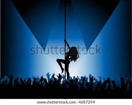 Pole dancer performing in front of crowd - vector - stock vector