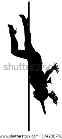 Pole dancer, sexy women silhouette. Black silhouette of dancing girl striptease. Isolated on white background -vector illustration. - stock vector