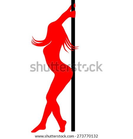 pole dancer silhouette. Vector illustration - stock vector