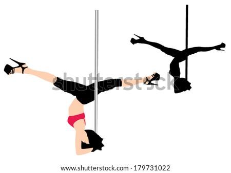 Pole dancer vector silhouette - stock vector