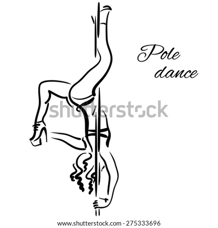 Pole dancer with long hair hanging on the pole upside down on the white background. - stock vector