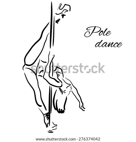 Pole dancer with long hair hanging on the pole upside down on the white background. Hand drawn sketch. - stock vector