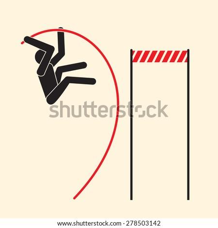 Pole vaulting- high jump over a barrier   - stock vector