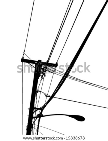 Pole with electric and telephone wires -vector art - stock vector