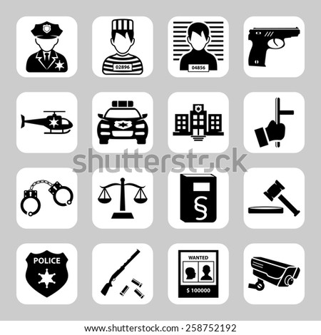 Police and criminality vector icon set - stock vector