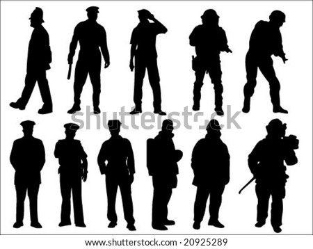 police and fireman silhouette collection vector - stock vector