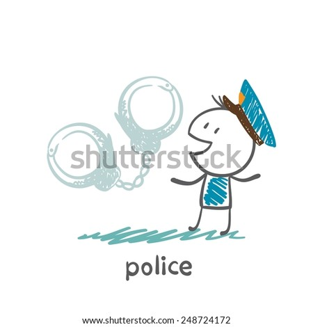 police and handcuffs illustration - stock vector