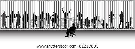 police and prisoners - stock vector