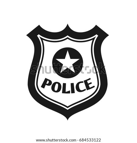 Police Badge Icon Flat Style Isolated Stock Vector ...