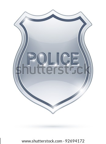 police badge vector illustration isolated on white background EPS10. Transparent objects used for shadows and lights drawing - stock vector
