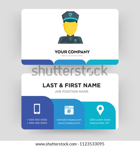 Police Business Card Design Template Visiting Stock Vector