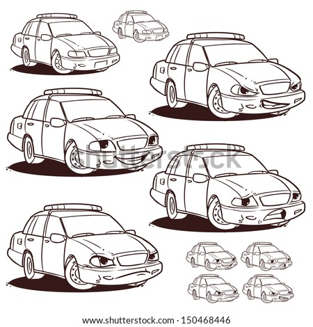 police car character coloring page - stock vector
