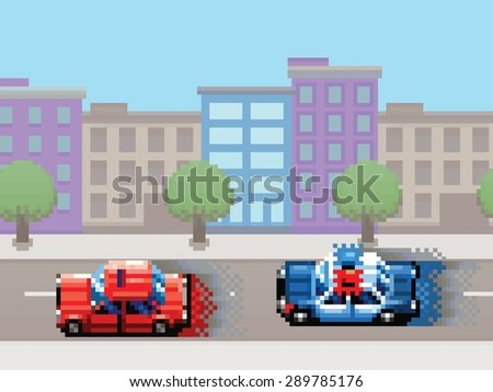 police car chase pixel art video game style retro layer illustration - stock vector