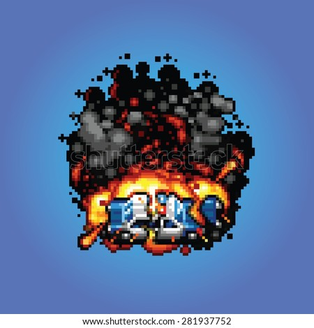 police car explosion - retro vector pixel art style illustration - stock vector