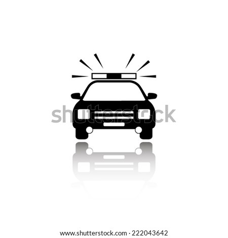 Police Car icon - black vector illustration with reflection - stock vector