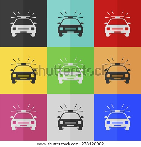 Police car vector icon - colored set. Flat design - stock vector