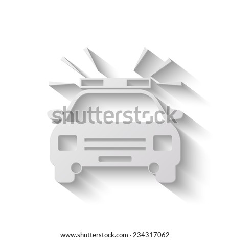 police car vector icon - paper illustration - stock vector