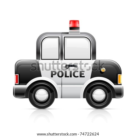 police car vector illustration isolated on white background - stock vector