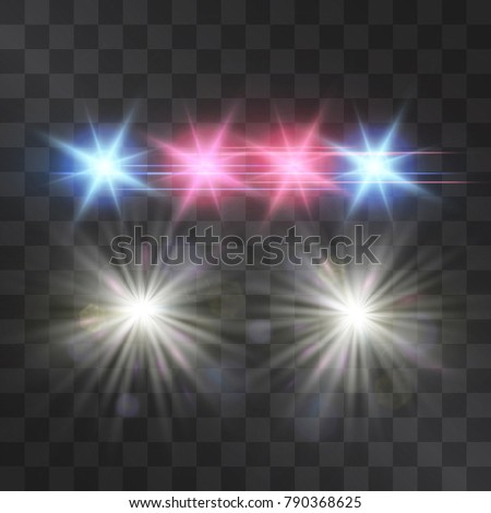 Police Car Vector Lights On Transparent Background. Red And Blue Siren  Flashes, Road Warning