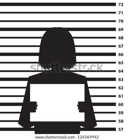 Police criminal record background with woman silhouette- illustration - stock vector