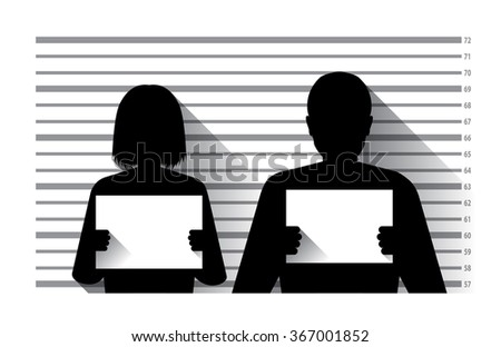 Police criminal record with man and woman , flat design